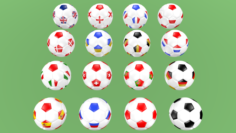 Football balls flags of Europe 3D Model