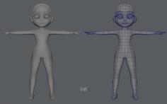 Base mesh girl character Low polygon 3D Model