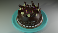 Birthday Cake Chocolate and Gems Free 3D Model