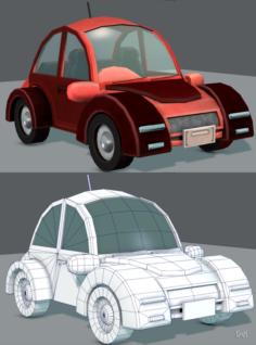 Cartoon Car 02 3D Model