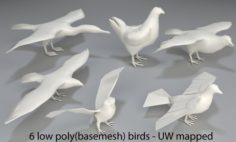 Birds – 6 pieces-low poly-part 4 3D Model