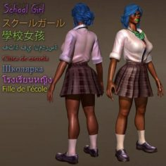 School Girl Comes with Rig 3D Model