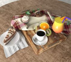 Food and drinks on the dining table 2 3D Model