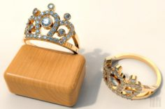 Ring crown with stones 3D Model