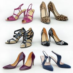 6 pairs of womens shoes 3D Model