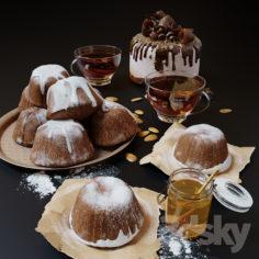 Cupcakes, honey and tea                                      3D Model