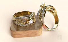 Gold ring with stones 3D Model