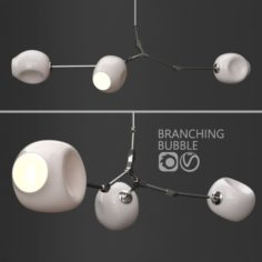 Branching bubble 3 lamps 2 by Lindsey Adelman Milk Silver 3D Model