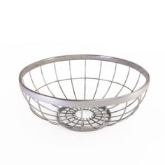 Round Wire Grid Fruit Basket Without Fruits model 3D Model