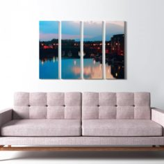 Printed Canvas – City with River model 3D Model