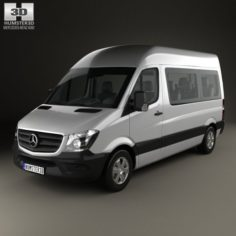 Mercedes-Benz Sprinter Passenger Van SWB HR with HQ interior 2013 3D Model