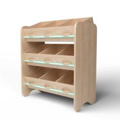 3D Wood Storage Box Shelf System 3D Model