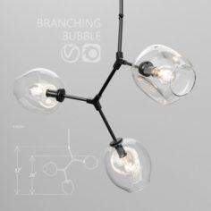 Branching bubble 3 lamps CLEAR BLACK 3D Model