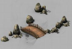 War Corps – River wooden bridge stone 01 3D Model