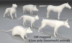 Animals-6 peaces-low poly-part 1 3D Model