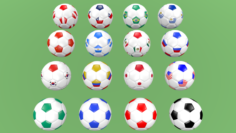 Football balls flags of the world except Europe 3D Model