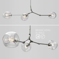 Branching bubble 3 lamps 2 CLEAR SILVER 3D Model