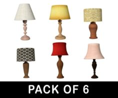 Table Lamps Collection – Pack of 6 3D Model