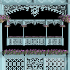 Georgian balcony with flowers                                      3D Model