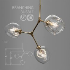 Branching bubble 3 lamps CLEAR GOLD 3D Model