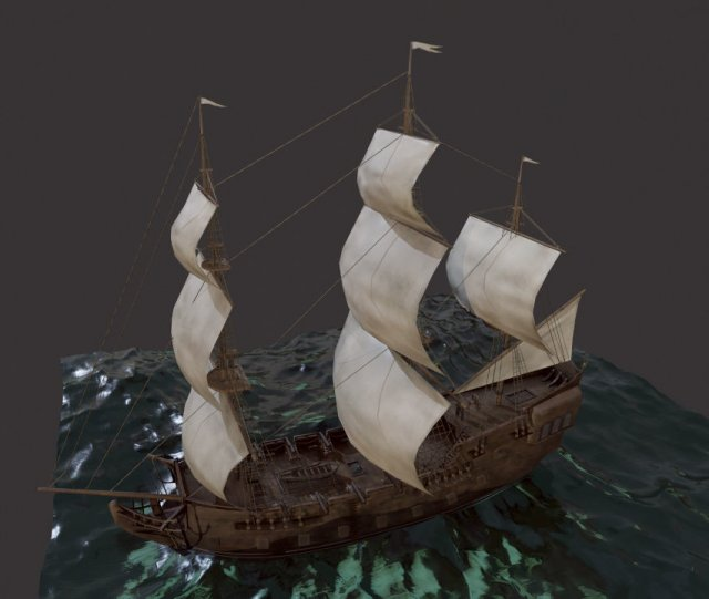 3D Sailboat Galleon model 3D Model