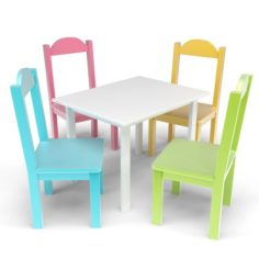 Kids Table and Chairs Set 3D Model