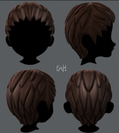 3D Hair style for boy V12 3D Model