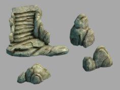 Stone Cliff – Stone Ladder – Stone 3D Model
