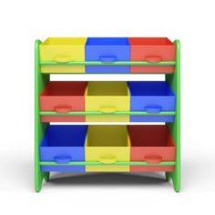 Kids Storage Box Shelf System -Boys 3D Model