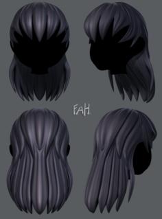 3D Hair style for girl V16 3D Model