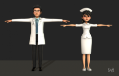 Doctor and Nurse 3D Model