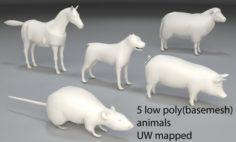 Animals-5 peaces-low poly-part 3 3D Model