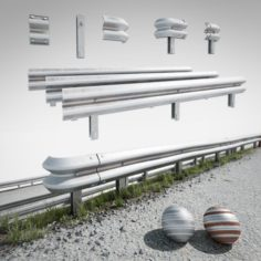 Road fence kit A 3D Model