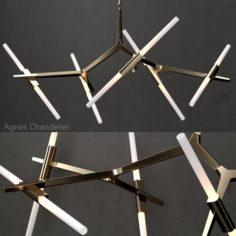 Agnes Chandelier 10 lights gold 3D Model