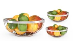 3D Chrome Wire Grid Fruit Basket with Fruits With Oranges Limes and Mangos 3D Model