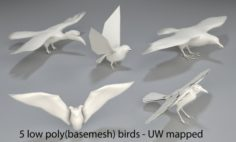 Birds – 5 pieces-low poly-part 3 3D Model