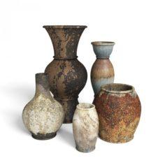 3D Old Rustic Decor Vase Set model 3D Model