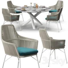 "Minotti York chair Van Dyck ""Outdoor"" table set                                      3D Model"