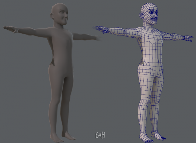 Base mesh old man character 3D Model
