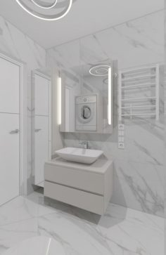 Cozy shower room with marble tiles Free 3D Model