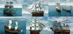 6 ship in 1 3D Model