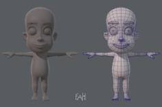 Base mesh boy character V02 3D Model