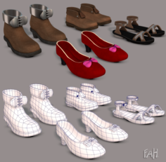 Shoes cartoon V02 3D Model