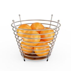 Chrome Wire Fruit Basket with Fruits With Oranges 3D Model