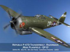 Republic P-47D Thunderbolt – Miss Plainfield 3D Model
