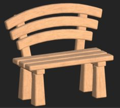 Cartoon wooden bench 1 3D Model