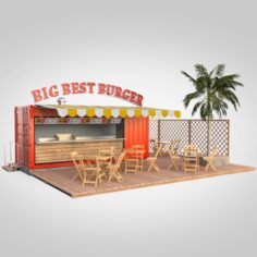Shipping container food stand 3D Model