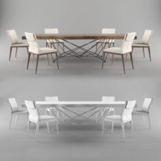 Table Gordon Deep Wood chair Cattelan Italia Sofia Chair 3D Model
