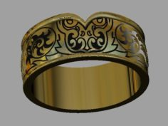 Wedding ring with owl and enamel 3D Model