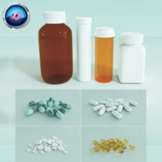 Medication Pills Capsules Bottles and Containers 3D Model